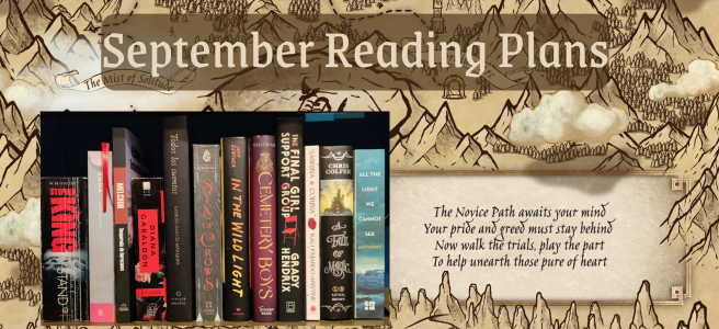"""The background features a map of the novice path (Described further in the blog). On the left is a look at all the book spines from the books mentioned in the book standing upright and at the top it says """"September Reading Plans"""""""