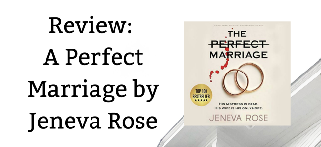 White background with the title of the blog post on the left and an image of the audiobook on the right. The audiobook cover features two wedding rings with some blood splattered over a light beige background.